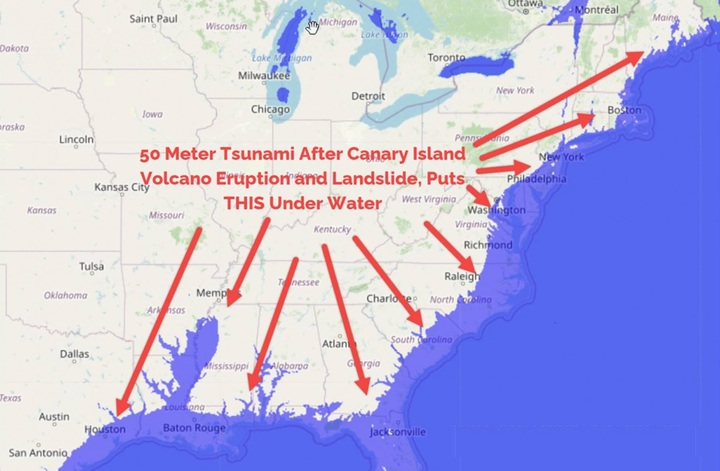 U.S. East Coast Could be SUBMERGED by Tsunami at Canary Islands Volcano Eruption with Landslide! | Daily Street News