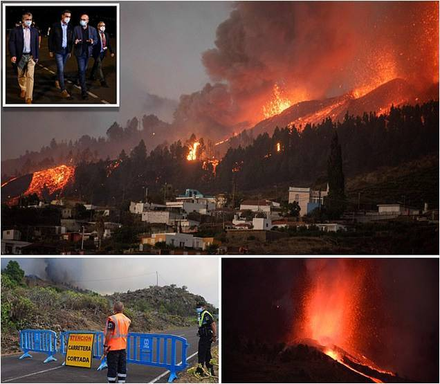 Volcano ERUPTS on Spanish island La Palma and rescuers scramble to evacuate more than 5,000 residents as plumes of smoke billow out of La Cumbre Vieja